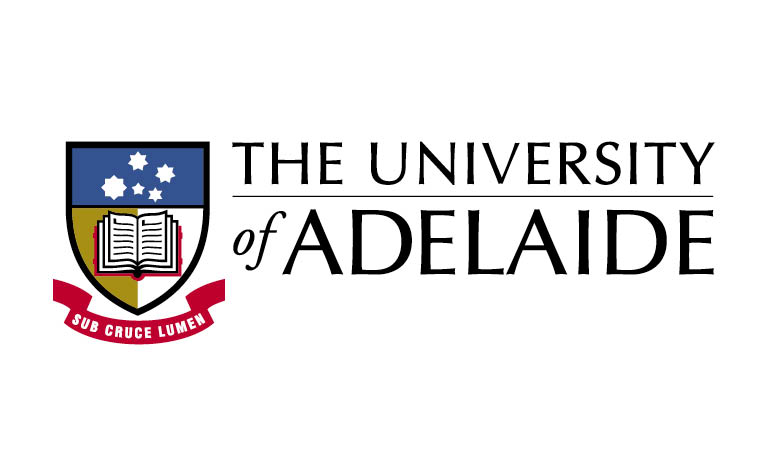 Crest in shape of shield top is blue with white stars, below half gold and white with an open book across them. ribbon underneath with sub cruce lumen. the University of Adelaide is to the left